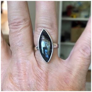 .925S Artisan Crafted Larvikite Ring>Sz 7